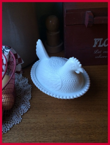 All cleaned up, I love my milk glass hen...reminds me of my girls...