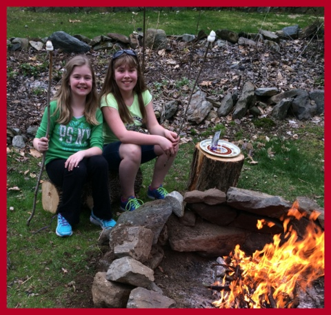 My daughter and her BFF are all smiles toasting marshmallows. Next time I will make MaryJane's recipe for homemade marshmallows!