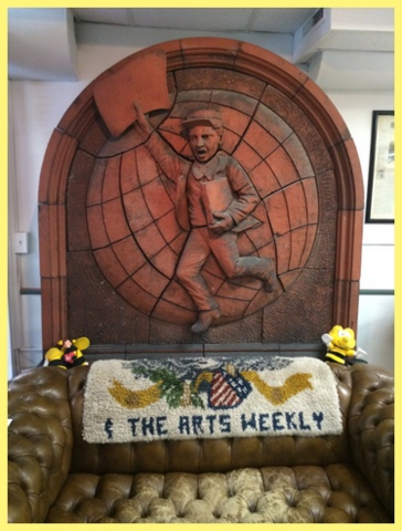 Molded Terra Cotta plaque, 1883 -1887 by H.A. Lewis, S. Boston, from the Saturday Globe Building where it hung until July 1992.