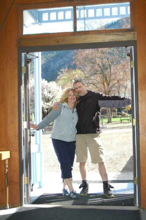 Here we are in the doorway of the church last Spring during our trip West.