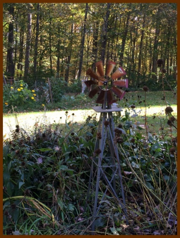 The windmill catches an October breeze, while seed pods provide energy for birds ready to fly south.