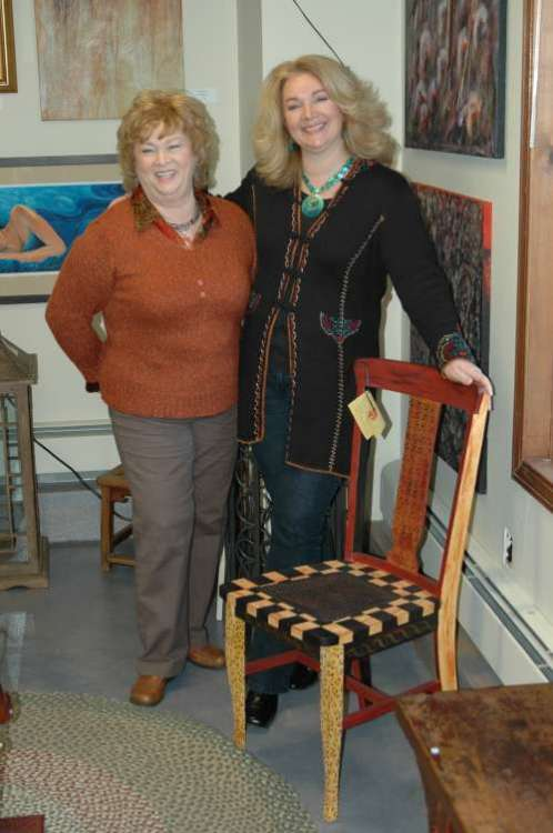 Mom and I at an art show where we were featuring some of our hand painted furniture.