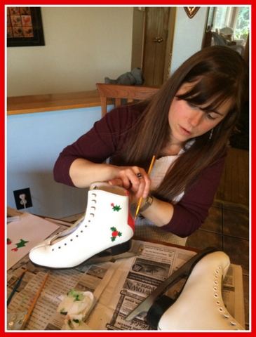 """Before painting directly on the skates, I """"practiced"""" on paper."""