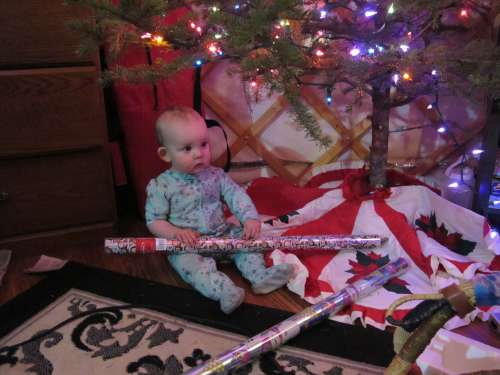 Ava fits so nicely under the tree--a perfect present!