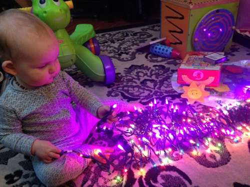 Playing with Christmas lights!
