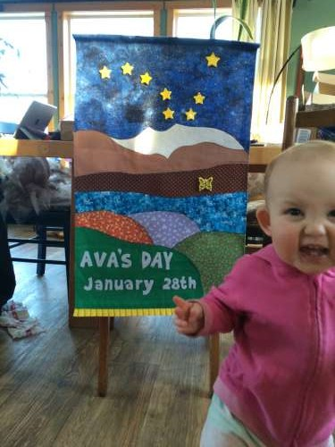 Ava's Grandma Gail made this gorgeous birthday banner.  Each year she will get another butterfly to add to it!