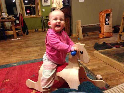 Ava's first horse!  Ride it, cowgirl!