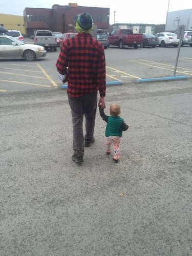 I just had to share this sweet photo.  Our good friends Bix and Emma left Alaska last week, and this is Bix walking with Ava for the last time in a long time.  Sad Face.  Perhaps I should parody a song for this moment.