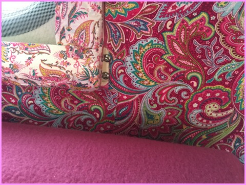 In true farmgirl fashion, Alison has glamped up the inside of her camper. The walls are done up in fabric with fancy duct tape.