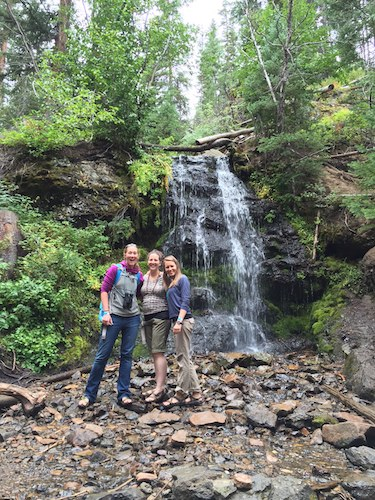 Weddings bring good friends together!  This is the Waterfall Hike at Snow Mountain Ranch in Granby, CO.