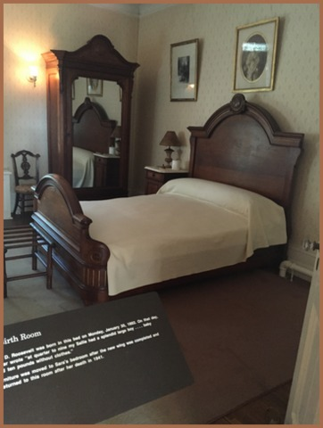 The room and bed where  President Roosevelt was born.