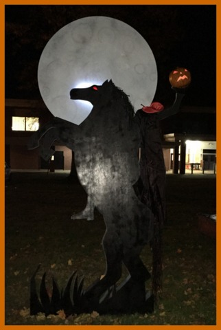 Around eight feet tall, the kids had to go back to the drawing board several times to bring their vision of the horseman in silhouette of the moon to life.