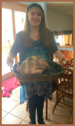 Last year's turkey, ready for the oven. Organic, it was delicious!