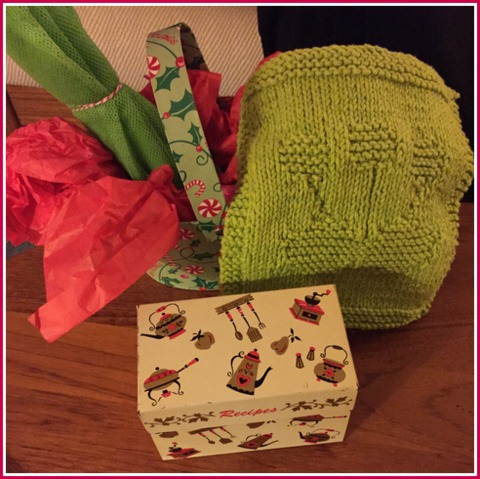 Jackie made a knitted dishcloth,  produce bags from MaryJane's pattern, and included a vintage recipe box! Gasp!
