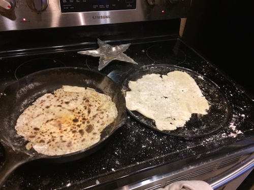 This is where I get to make a mess!  As the lefse flipper/stacker/burner.