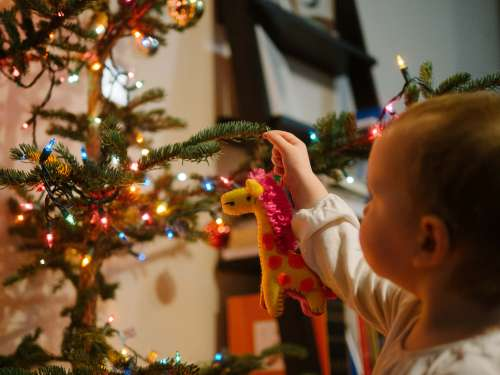 Ava hangs her first ornament on our Charlie Brown Christmas Tree.