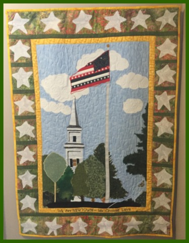 Stefanie's special quilt for Newtown. There are twenty six stars in honor of Sandy Hook Elementary.