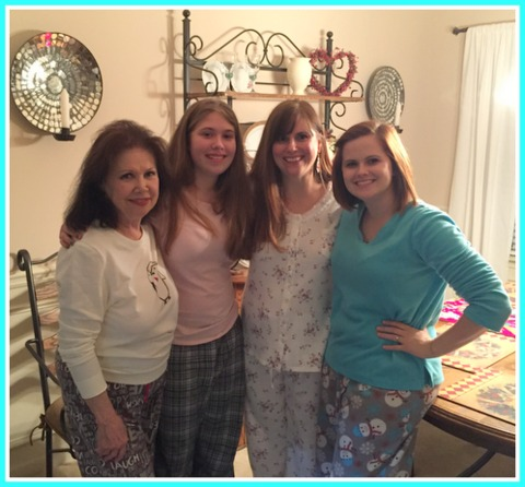 "Pajama party! My mom and her ""girls""!"