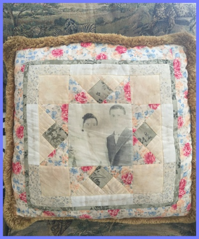Stefanie creates heirloom keepsakes. Pillows are a great way to display old photos.