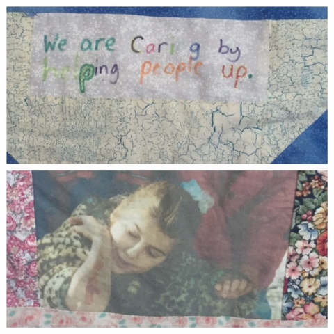 The children acted out the character trait and then took photos of the action for the quilt. This is Stefanie's daughter when she was little.