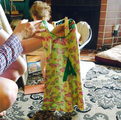 I made this Super Ava cape for Easter.  She refused to wear it at first.  I was a bit devestated.