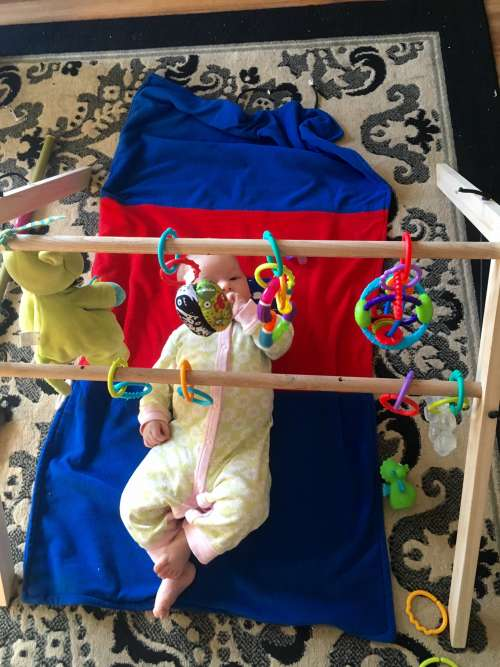 "I made this ""baby gym"" for Opal.  She loves it!"