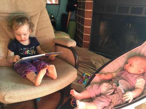 Ava reading us a story.