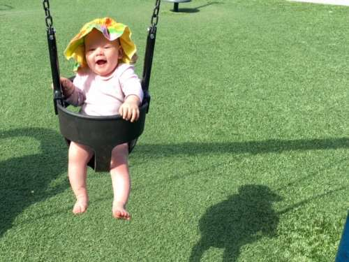 We could probably take some life advice from babies, too.  It's okay to laugh while you swing!