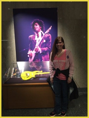"A teen in the 80's, I had to pose next to Prince's guitar; some of the kids in my charge said, ""Who was that?"" :/"