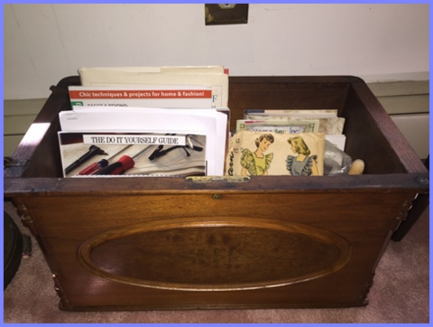 I use the coffer that came with the New Home model to hold my sewing books.