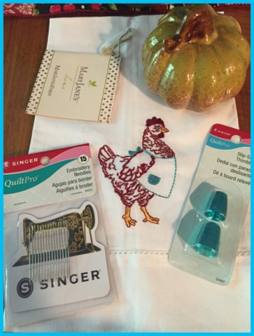 Leave a comment to win a goodie box with a vintage-style sewing machine magnet and hand needles, a glazed ceramic fall pumpkin, two teal thimbles, and a tea fowl, er, towel featuring Henrietta, the MaryJanesFarm Sisterhood Logo!