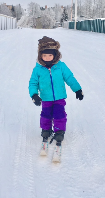 Ava is a natural skier! This is from her first time on skis!