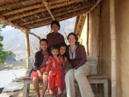 Me with Yuba's son (the toddler), niece (girl holding toddler) and two other village kids.  We exchanged English and Nepali language lessons.