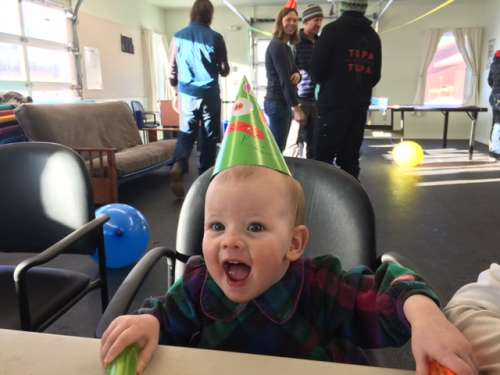 Opal having a blast at Ava's birthday party!
