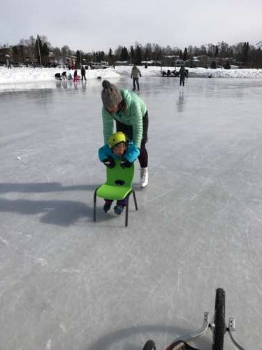 Trying to teach a three year old to skate necessitates focus!...And arm strength...And patience.