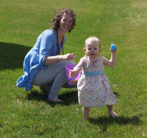 Opal's first Easter Egg hunt--bare foot, happy and full of sugar.