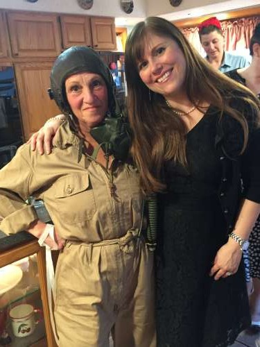 My friend Lisa is such a hoot! She wore her husband's grandfather's uniform from WWII.