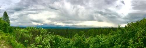 First good above-the-tree-line view, about 10 p.m.  Denali is over there somehwere, obscured by clouds.