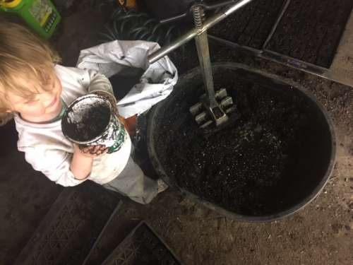 Ava is my soil block making assistant (I could write a whole blog post about soil blocks!)
