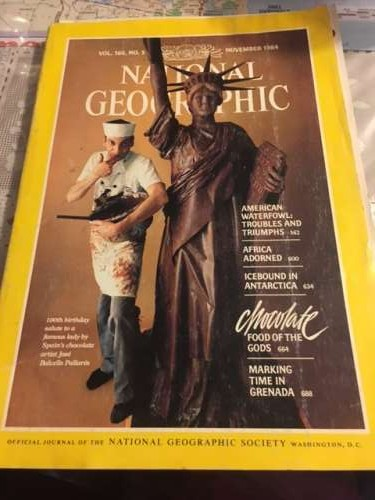 I randomly grabbed this NatGeo to read at breakfast.  Happens to be from November 1984--a month before I was born.  It features water fowl and chocolate so I figured it was meant to be!