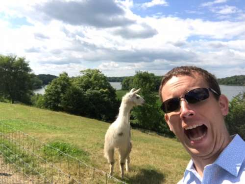 Evan's childhood friend being his goofy self with the llama.