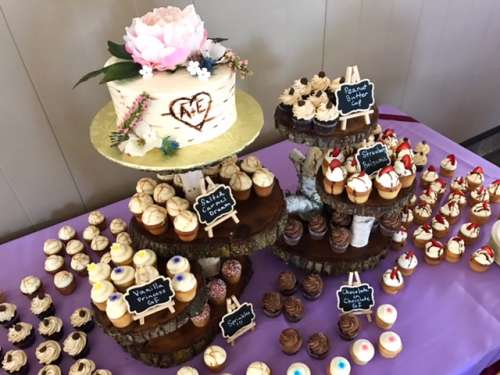 Let them eat cake! cupcakes and the cupcake stand made by my uncle.