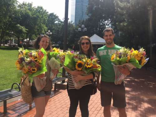 My cousin, her boyfriend and I found bouquets at a local farmers market.