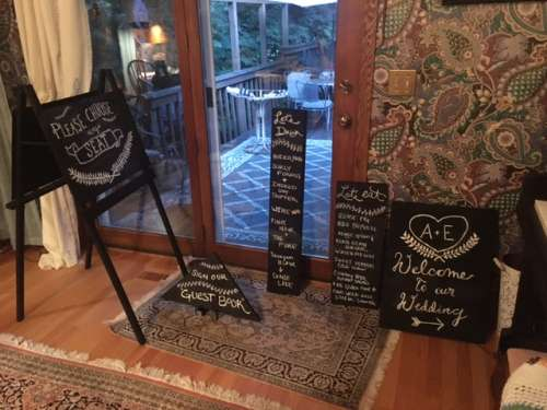 Decorations filled up my mom's dining room.  My cousin made these signs!