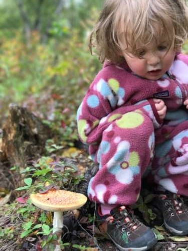 From a hike a few weeks ago.  She wanted to know what it fells like to be a mushroom.