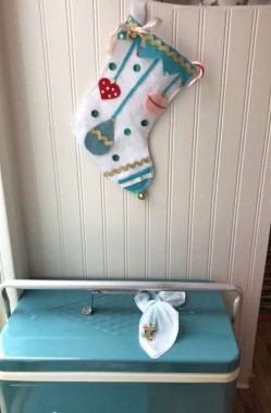 ...I made this felt stocking for the camper. Many of the vintage sewing machines I collect come with antique or vintage notions. All the sequins and trim are old, only the felt was new.