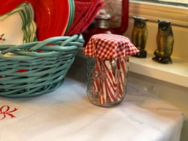 Peppermint sticks in a mason jar look festive