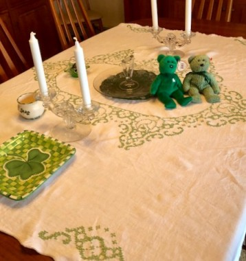 My grandmother made this linen tablecloth for my parents in the late 50s. It's the only thing I have from her. It doesn't fit my table, so I drape it sideways.