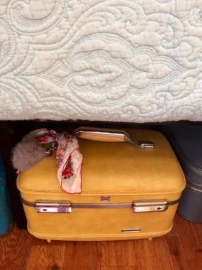 Train cases aren't widely used for travel but make great charming storage for all sorts of things! A hankie adds some fun color.