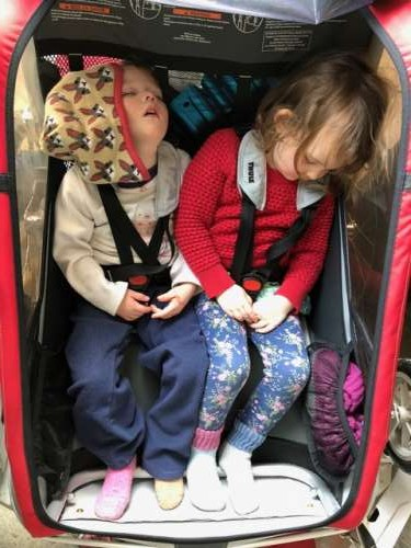 Evan is a rockstar dad and keeps the older girls active!  Here they are asleep in the bike trailer after a long day playing outside.